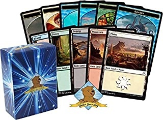 100 Magic The Gathering Card Lot - 50 Basic Lands and 50 Token Cards! Includes Golden Groundhog Deck Box!