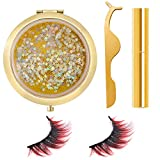 Colored Lashes Magnetic Eyelashes with Eyeliner & Tweezers & Flowing Star Box, Reusable Gradient Color Fake Eyelash (Red)