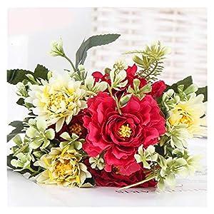 Artificial Flowers 1 Bouquet Camellia Artificial Peony Rose Flowers Silk Fake Flores Wedding Flower