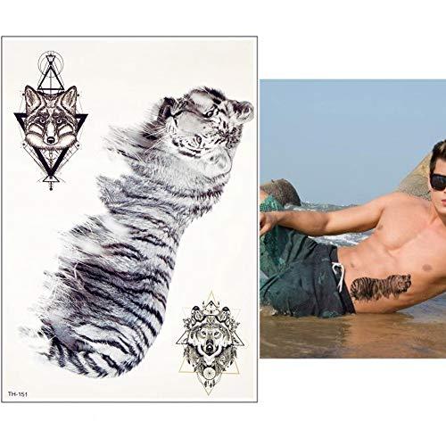 lecoolz Temporäres Tattoo Tiger Wolf Design Temporary Klebetattoo Körperkunst