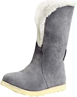 Women Winter Snow Boots, Ladies Solid Round Toe Suede Footwear Warm Boos Cotton Shoes