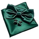 JEMYGINS - Pajarita doble plegable para hombre de color liso con pañuelo y gemelos con caja incluida verde oscuro Medium