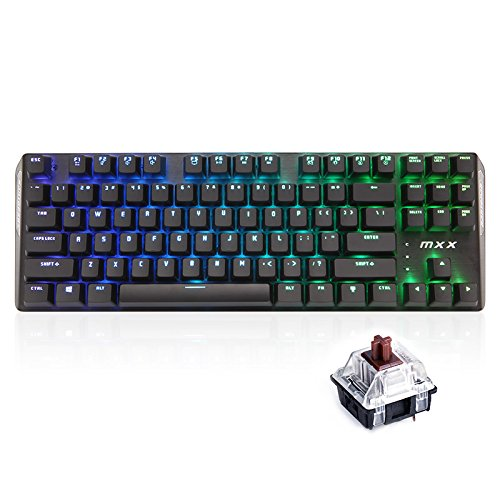 Rantopad MXX Chroma RGB Backlight Gaming Mechanical Keyboard - 87 Keys, Black Aluminum Cover, N-Key Rollover (Brown Switches)