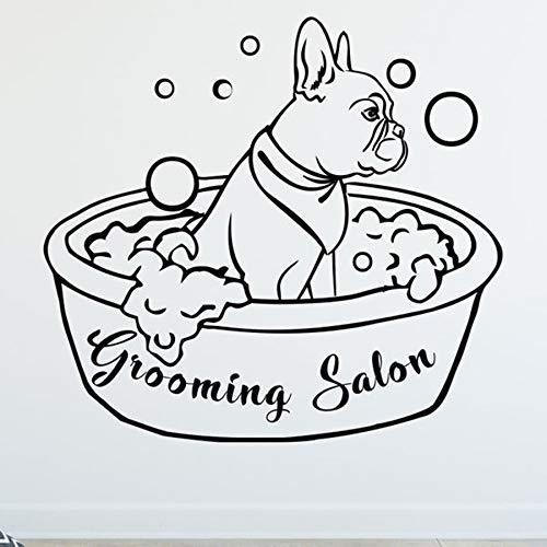 BailongXiao Schönheitssalon Wandtattoo Hund Tier Wandtattoo Haustier Bad Aufkleber Zoohandlung Wanddekoration Kunstwand abnehmbar 67x63cm