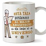 MUGFFINS Arquitecto Tazas Originales de café y Desayuno para Regalar a Trabajadores Profesionales - Esta Taza Pertenece al Mejor Arquitecto del Universo - Cerámica 350 ml