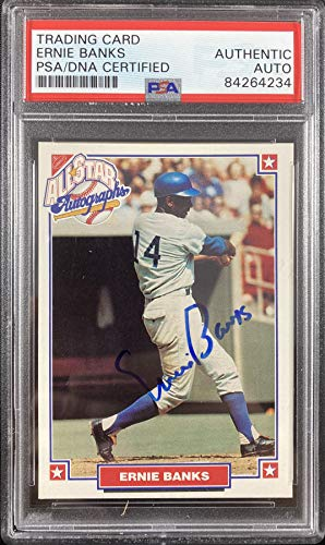 Ernie Banks auto signed card MLB Alumni 1993 Chicago Cubs PSA Encapsulated