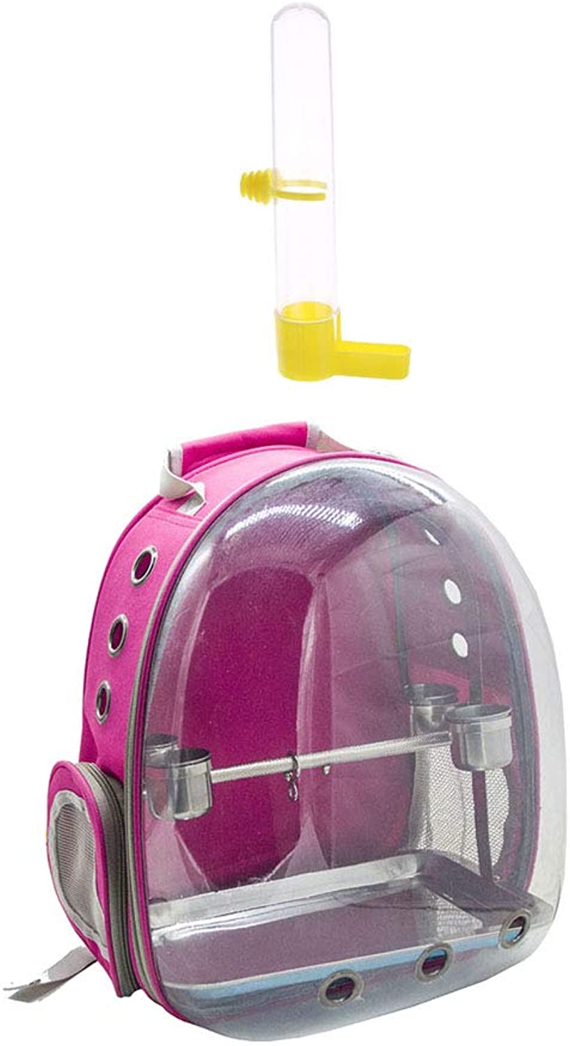Baosity Clear Cover Parred Bird Carrier Backpack pink Red with Stainless Steel Perch Stand & & Bird Water Drinker