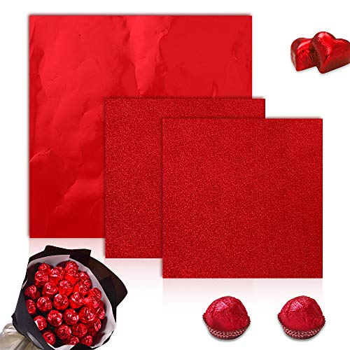 Aibyncoo 300pcs Chocolate Candy Wrappers Red Foil Square Aluminum Foil Candy Wrapping Foil for Mother's Day Valentine's Day Chocolate 100 PCS 6'x 6' and 200 PCS 4' x 4' (Red)