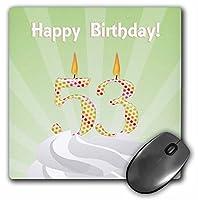 3drose数53Candle withカラフルドット、Happy誕生日–マウスパッド、8× 8インチ(MP 179388_ 1)