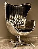 Casa Padrino - Sillón Art Deco - Sillón Giratorio - Aluminio/Cuero Real - Forma de Huevo Negro - Sillón Club - Sillón - Muebles Vintage para avión