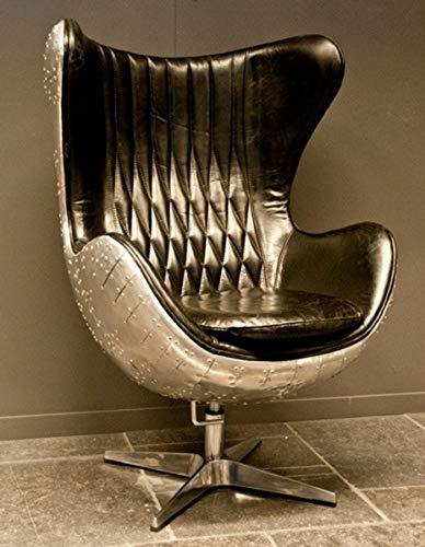 Casa Padrino Art Deco Lounge Chair Drehstuhl Sessel Aluminium/Echt Leder Schwarz Ei-Form - Club Sessel - Lounge Sessel - Vintage Airplane Möbel