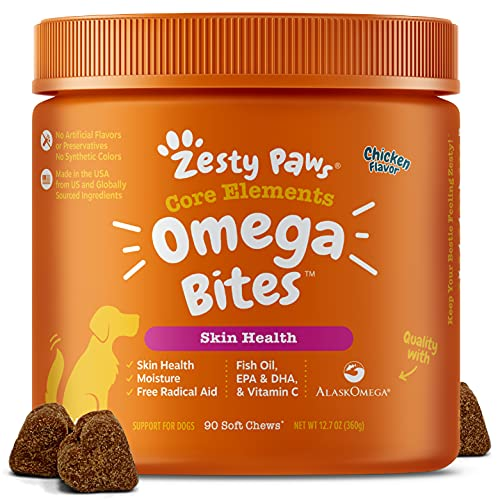 Zesty Paws Omega 3 Alaskan Fish Oil Chew Treats for Dogs - with AlaskOmega for EPA & DHA Fatty Acids - Itch Free Skin - Hip & Joint Support + Skin & Coat Chicken Flavor (90 Soft Chews)