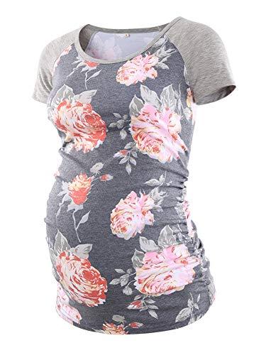 BBHoping Damen Baseball-T-Shirt, Rundhalsausschnitt, Raglanärmel, seitlich gerüscht, Schwangerschaftsshirt - - Klein