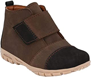 Hopscotch Tuskey Shoes Boys Genuine Leather Coffee High Ankle Boot in Brown Color