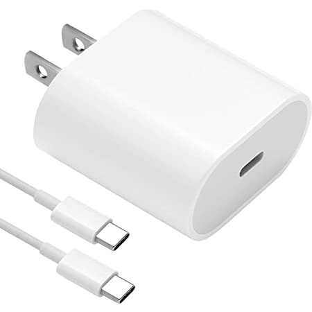 18W USB C Fast Charger for 2021/2020/2018 iPad Pro 12.9 Gen 5/4/3, iPad Pro 11 Gen 2/1, iPad Air 4, Google Pixel 4 XL/3/2, Samsung Galaxy S20, PD Wall Charger with 6.6ft USB C to USB C Charging Cable