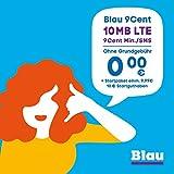 Blau 9 Cent (SIM, Micro-SIM und Nano-SIM), ohne Vertragslaufzeit, 10 MB/Monat mit LTE, nur 9 Cent/Min. in alle dt. Netze, 0€/Monat, inkl. 10€ Startguthaben, O2 Netz