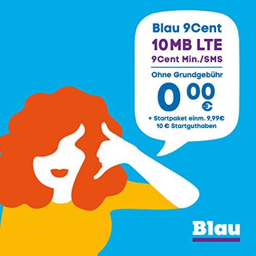 Blau 9 Cent (SIM, Micro-SIM & Nano-SIM), ohne Vertragslaufzeit, 10 MB/Monat mit LTE, nur 9 Cent/Min. in alle dt. Netze, 0€/Monat, inkl. 10€ Startguthaben, O2 Netz