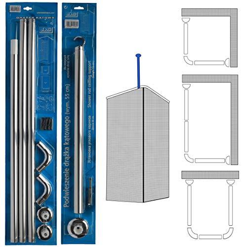 U & Esquina en forma de L–barra de ducha 3way en ángulo adaptador de pared soporte de techo para barra de ducha, Silver Rail + Support
