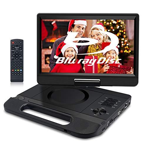 FANGOR Tragbarer DVD-Player Blu-Ray 10,1 Zoll mit wiederaufladbarem Akku, unterstützt Full HD 1080P Dolby Audio MP4/USB/SD/MMC, Synchronisierung mit HDMI Out/AV in