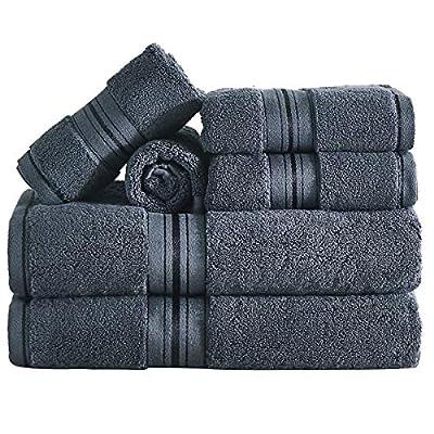unknwon Soft Luxury Dark Grey Bath Towel Set, 6 Piece 100% Cotton Absorbent Towel Set for Bathroom and Hotel, 2 Bath Towels, 2 Hand Towels & 2 Washcloths