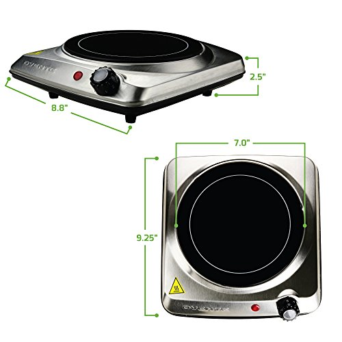 OVENTE Electric Infrared Burner, 7 Single-Plate, 1000W, Ceramic Glass & Stainless Steel, Silver (BGI101S)
