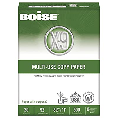 "Boise X-9 Multi-Use Copy Paper, 8.5"" x 11"", 92 Bright, 20 lb, 5 Ream Carton (2,500 Sheets) (6)"