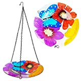 """Nerosun Hanging Bird Feeders and Baths for Outside, Outdoors, Bird Bath Bowl with Butterfly and Flower,Glass Tray,Decor for Garden Yard Patio Decorations (11"""" Width & 18.9"""" Height )"""