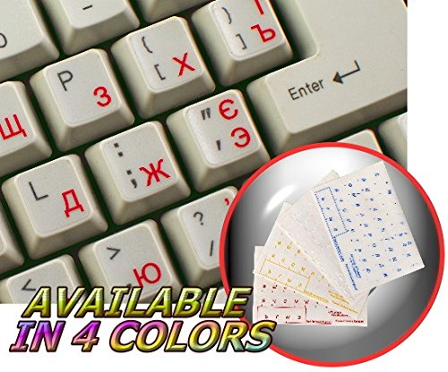 Ukrainian Russian Cyrillic Keyboard Sticker with RED Lettering ON Transparent Background for Desktop, Laptop and Notebook