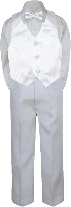 4pc Baby Toddler Kid Boy Formal Suit White Pants Shirt Vest Bow tie Set Sm-4T