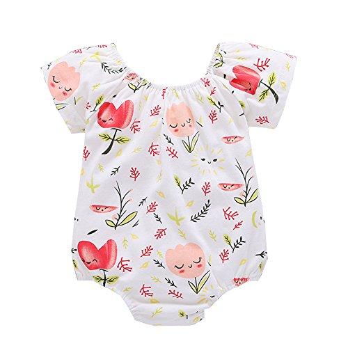 SCEFL Neugeborenes Baby Mädchen Säugling Lächeln Gesicht Blumen Print Spielanzug Outfits (18-24 Monate)