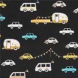 Art Gallery Fabrics Schwarzes Baumwollgewebe mit Autos und