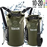 TEBRION 10L / 10L + 20L Premium Waterproof Dry Bag - Roll Top Sack Keep Gear Dry and Safe Perfect for Kayaking, Rafting, Boating, Surfing, Fishing - 10 Liter & 20 Liter Army Green