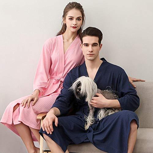 Paare Bademantel Bademantel Bademäntel Sieben-Punkt-Ärmel Pyjama Home Service Unisex-Modelle Bademäntel - Marineblau XXXL (geeignet für 185 kg / 182CM) -Unisex-Bademäntel - Kirschpulver_XXXL (geei