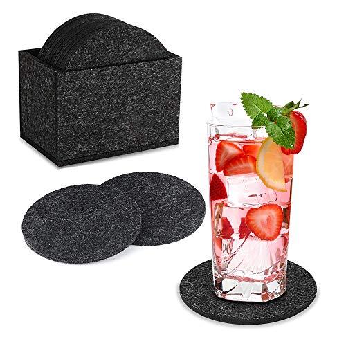 Juego de 12 Posavasos Originales Redondos, Cup Drink Coasters Set, Posavasos de Fieltro con Caja Antideslizante Absorbentes para Bebidas Cerveza Vino Taza, Uso de Oficina y Bar, 10 cm, Gris Oscuro