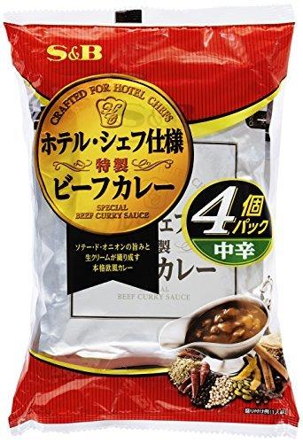 ヱスビー食品 ホテル シェフ仕様 特製ビーフカレー 4個パック 中辛 袋170g×4