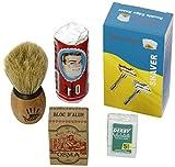 Rasurset mit Shaving Factory Rasierhobel und Bürste, Osma Aluminiumblock, Arko...
