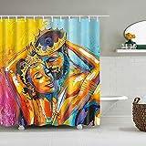 XCBN Tenda da doccia Africana Uomo Donna Tende Modello per bagno Decorazioni per la casa Tende da doccia con gancio A3 180x200cm