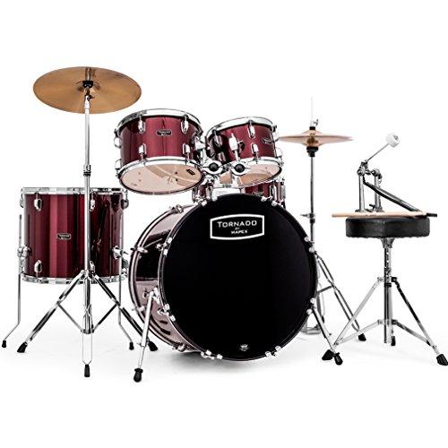 Mapex Tornado 2 Schlagzeug mit Becken, 22 Kick Rock-Fusion, Burgunderrot