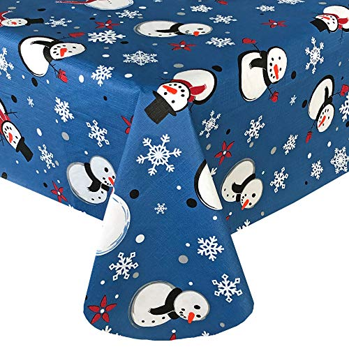 Lintex Blue Happy Snowman PEVA Non Toxic Christmas Vinyl Flannel Back Tablecloth - Snowmen and Snowflakes Flannel Backed Non PVC Odorless Vinyl Xmas Tablecloth, 52 Inch x 70 Inch Oblong/Rectangle
