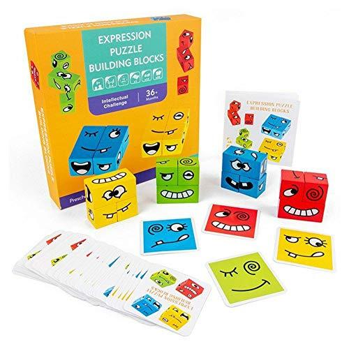 Fanville Expression Puzzle Bausteine Eltern-Kind Brettspiel Holz Herausforderung Denken Training Kinder Gesicht ändernde Puzzle Bausätze Würfel Interaktion Spielzeug Holzblöcke Neu