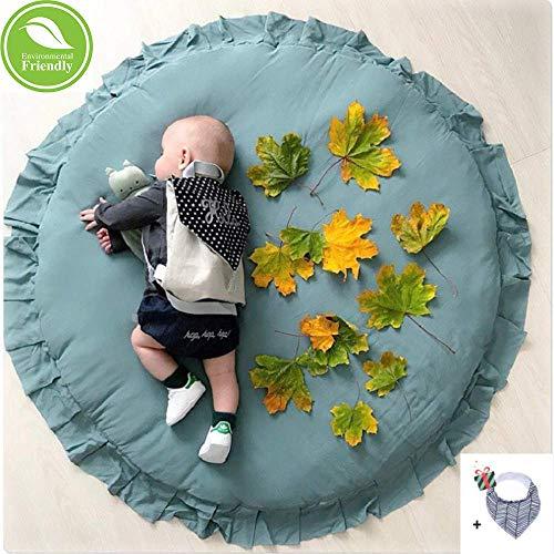 Krabbeldecke für Baby, Morbuy Kinder Schlafbereich Teppich Kuschelige Cartoon Spielmatte Runde Teppich Dekoration für Kinderzimmer Crawl Spielmatte Spiel Gym Aktivität (A-blaugrün)