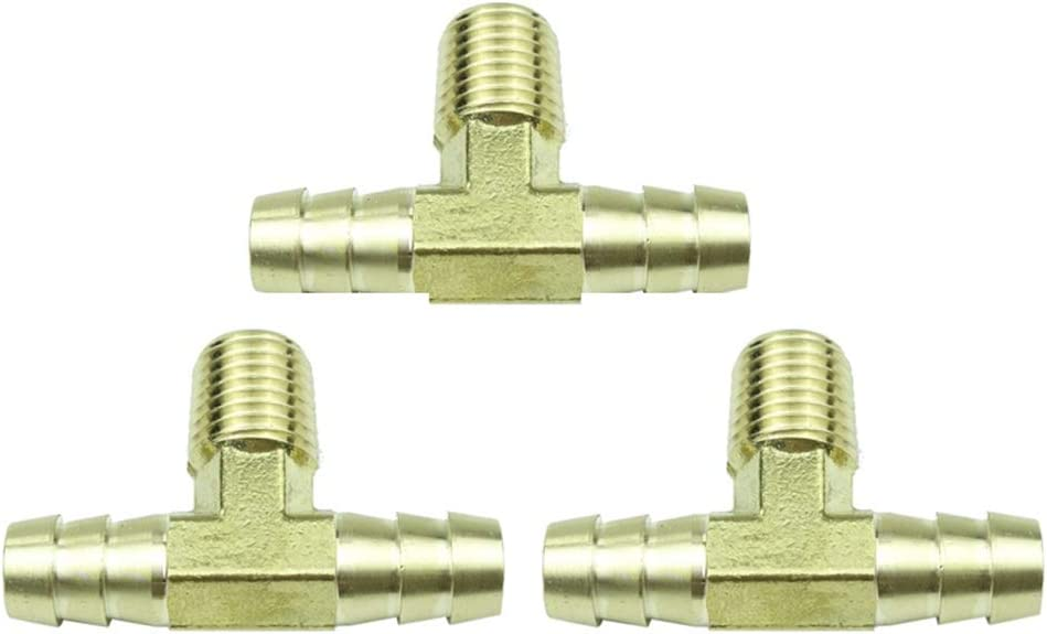 HongBoW 3 Pcs Pack Hardware Brass Tee Max 51% OFF x Barb Very popular Barbed 8
