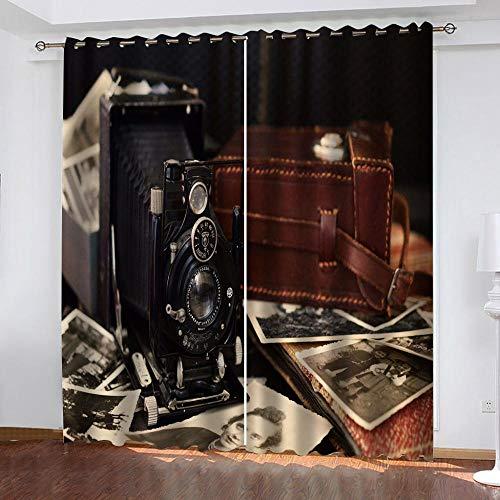 Agvvseso Cortinas 3D Cámara retro creativa 2 paneles de cortinas opacas con ojales, aislamiento térmico súper suave, adecuado para dormitorio, sala de estar, comedor, oficina, ventana (W)220x(H)215