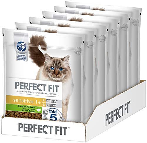 PERFECT FIT Katzenfutter Trockenfutter Sensitive ohne Weizen & Soja für optimale Verdauung Adult 1+ Reich an Truthahn, 6 Beutel (6 x 750g), 4500 g