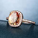 DJMJHG Fashion Party Ring with Oval Shape Champagne Cz Prong Setting Rose Gold Color Wedding Anniversary Rings 6 Champagne
