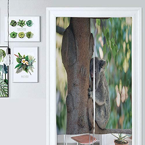 SUPNON Japanese Noren Doorway Curtain Koala Bear Yawning in A Tree Door Way Curtain Fitting Room Curtain Partition Curtain Door Hanging Tapestry IS134729 W39.3 x L59