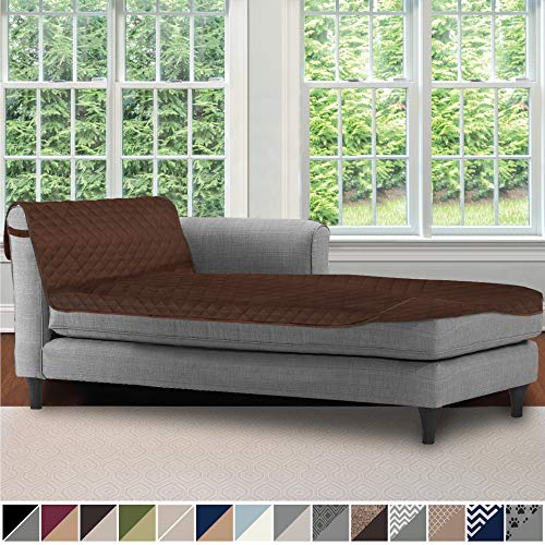 Sofa Shield Original Patent Pending Reversible Sofa Chaise Protector, 102x34 Inch, Washable Furniture Protector, 2 Inch Strap, Chaise Lounge Slip Cover for Pets, Dog, Kids, Cats, Chocolate
