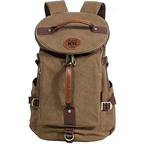 KAUKKO Classic Canvas Backpack Travel Hiking Bag Rucksack Outdoor Sports Satchel Khaki