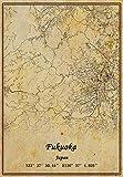 Póster de Japón Fukuoka para pared, diseño de mapa, estilo vintage, sin marco, para decoración de regalo, 30,5 x 40,6 cm