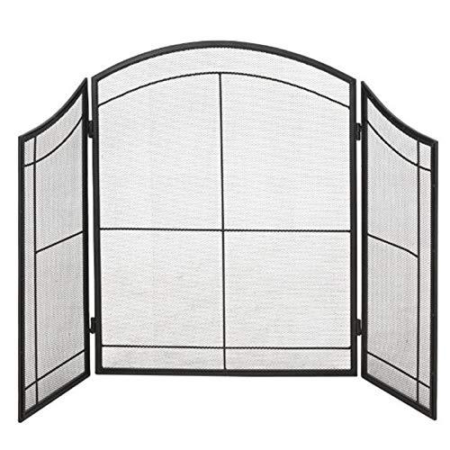 Funkenschutz Kaminschirme zum Gaskamin/Holzofen, Schwarz Eisen Outdoor Metall Dekor Mesh, Arch Panel, Funkenschutzabdeckung